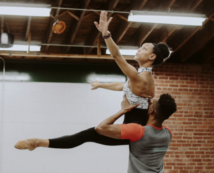 <strong>Miyesha McGriff (left) practices a dance routine with Caio Dos Santos at Collage Dance Collective Wednesday, Jan. 30, 2019. The organization, which has benefited from ArtsMemphis grants, is focused on increasing its national and international touring.</strong> (Houston Cofield/Daily Memphian)