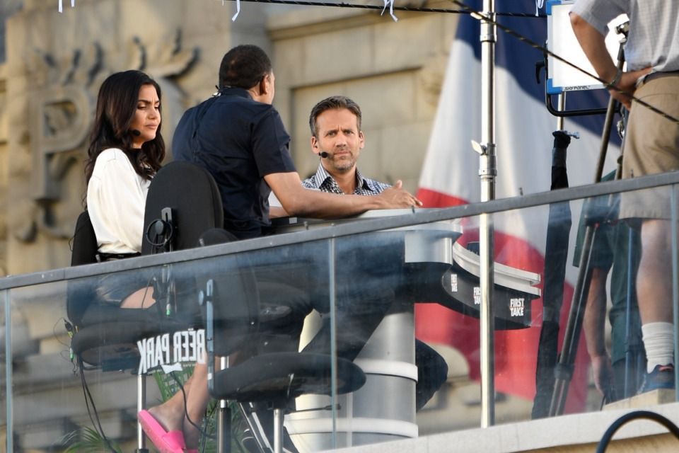 <strong>(From left) Molly Qerim Rose, Stephen A. Smith and Max Kellerman broadcast from Las Vegas in 2020.</strong>&nbsp;<strong>They&rsquo;ll be on Tiger Lane on Sept. 10 for the&nbsp;Southern Heritage Classic between Tennessee State and Jackson State.</strong> (Damairs Carter/MediaPunch /IPX