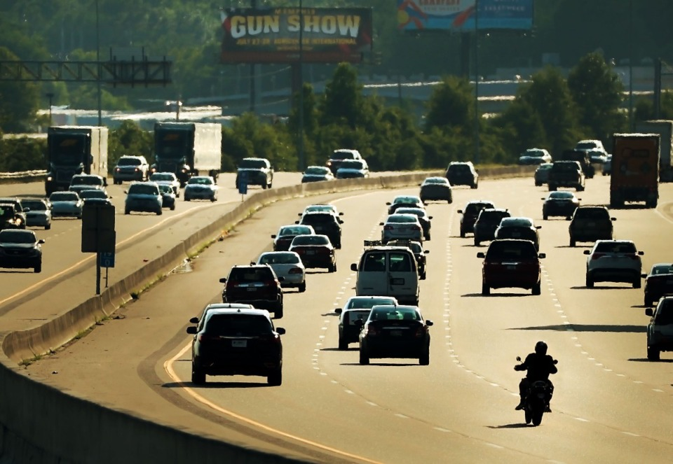 <strong>Traffic starts to ease up after rush hour on the south loop of I-240 on June 3, 2019. For many Memphians who have been working from home, returning to the office means returning to long commutes.</strong> (Daily Memphian file)