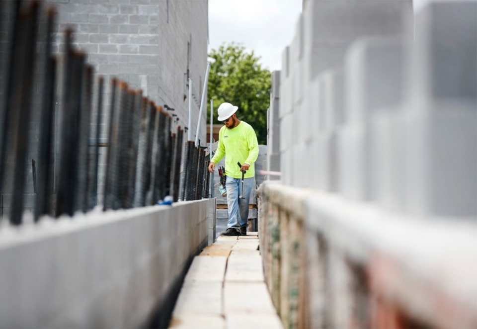 <strong>Construction continues on the new Lakeland Prep high school buildings on Wednesday, July 7.</strong>&nbsp;<strong>The $40 million wing is adjacent to the existing Lakeland Middle Preparatory School constructed five years ago.</strong>&nbsp;(Mark Weber/Daily Memphian)