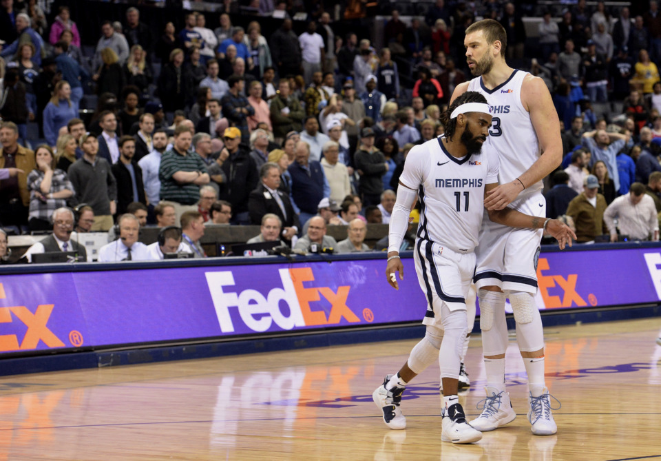 <span><strong>Memphis Grizzlies guard Mike Conley (11) and center Marc Gasol play in the second half of an NBA basketball game against the Denver Nuggets Monday, Jan. 28, 2019, in Memphis, Tenn.</strong> (AP Photo/Brandon Dill)</span>