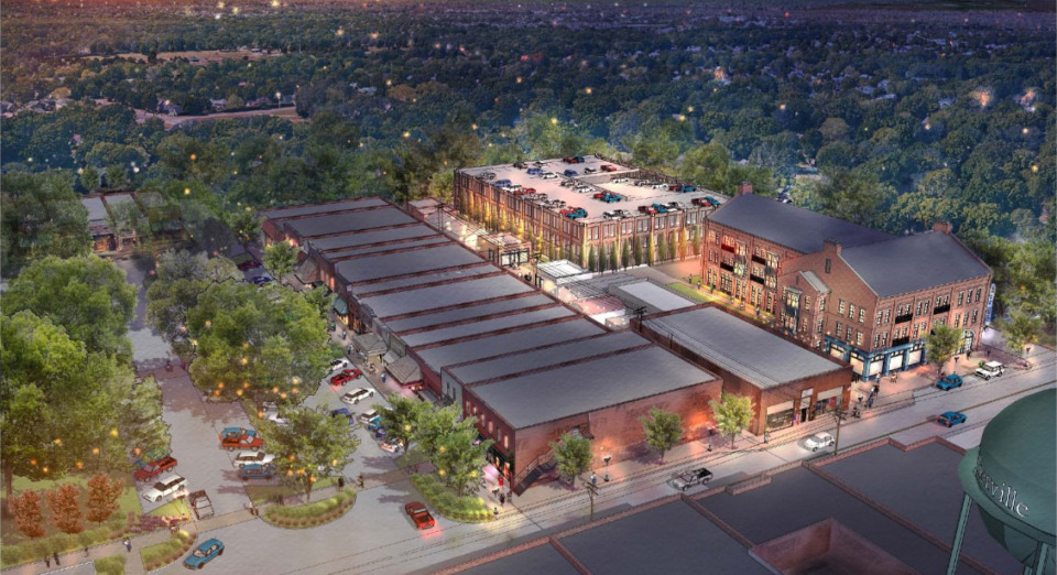 <strong>A rendering shows what Collierville&rsquo;s Town Square would look like from above if a small hotel and parking garage were added.</strong> (Credit: LRK)