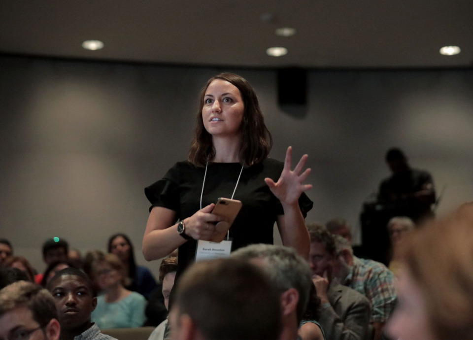 <strong>Sarah Houston (in a 2019 file photo) questions a panelist during The Daily Memphian&rsquo;s Developing Memphis Seminar at Memphis Brooks Museum of Art.</strong> (Patrick Lantrip/Daily Memphian)
