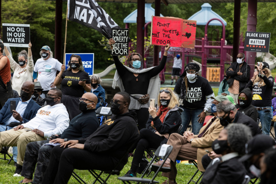 <strong>People react as Rev. Dr. William Barber II, co-chair of the Poor People's Campaign, speaks during a rally supporting the Memphis Community Against the Pipeline at Alonzo Weaver Park.</strong> (Brad Vest/ The Daily Memphian file)