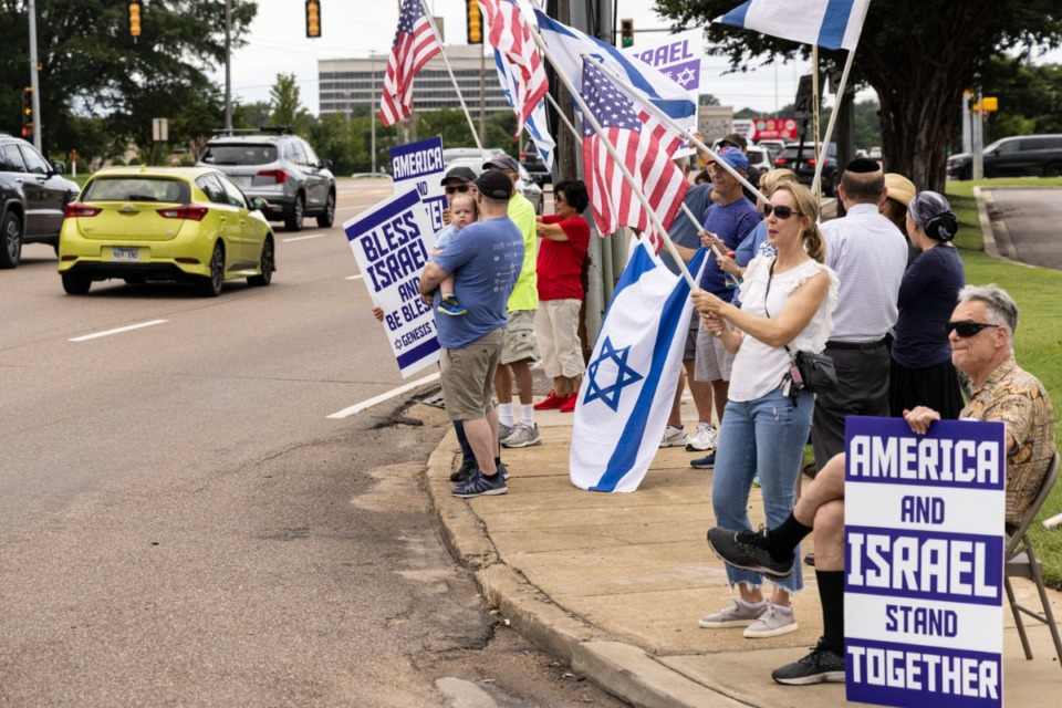<strong>People gathered Sunday, July 11 at the intersection of Poplar Avenue and Ridgeway during a rally for Israel organized by Memphis Friends of Israel.</strong> (Brad Vest/Special to The Daily Memphian)