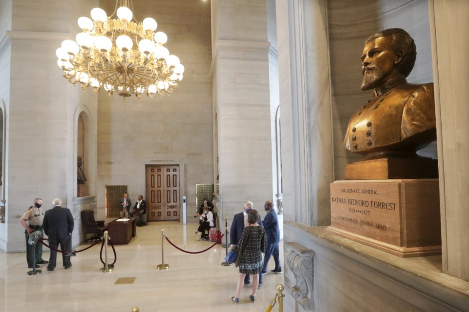 <strong>A required 4-month waiting period for the removal of a Nathan Bedford Forrest bust from the Tennessee Capitol building expired on Friday, July 9, 2021 but if and when it will be removed is still uncertain.</strong> (Mark Humphrey/AP file)