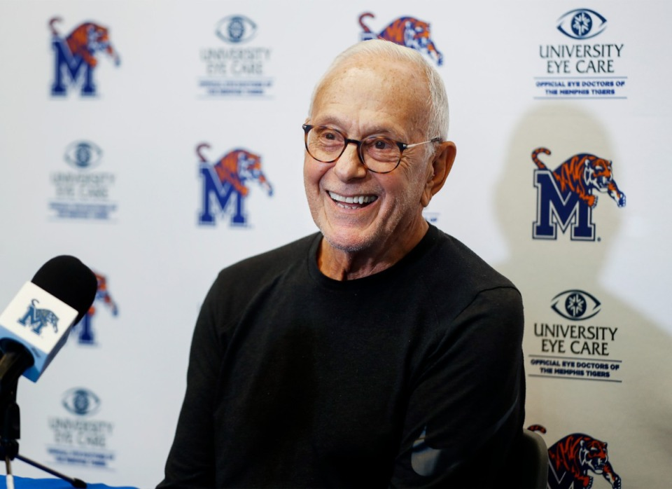 <strong>New University of Memphis assistant basketball coach Larry Brown speaks during a press conference on Monday, July 12, 2021.</strong> (Mark Weber/The Daily Memphian)