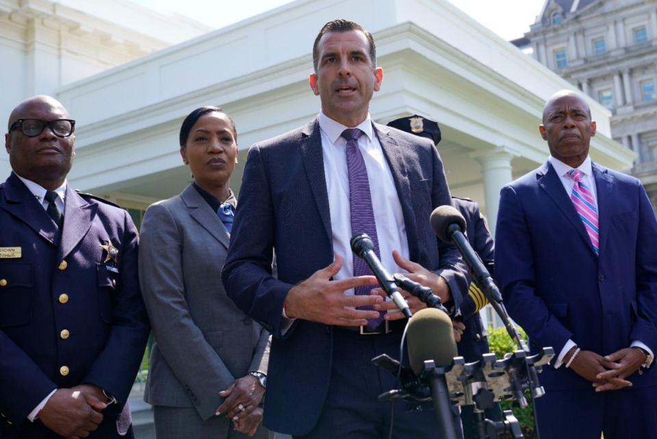 <strong>Memphis Police Chief Cerelyn &ldquo;C.J.&rdquo; Davis (second from left) joins Chicago Police Superintendent David Brown (from left), Brooklyn Borough President Eric Adams (right) and San Jose Mayor Sam Liccardo (at microphone) outside the White House following a meeting with President Joe Biden on Monday, July 12.</strong> (Susan Walsh/Associated Press)