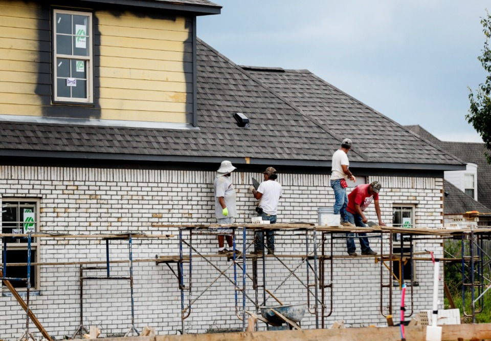<strong>Work continues on a new building in the Belmont subdivision on Monday, July 12, 2021 in Arlington. Creekside Homes sold so many homes in the past 12 months that it is out of buildable lots in Arlington and is developing more at two projects at the Belmont and Wilson's Lake areas.</strong> (Mark Weber/The Daily Memphian)