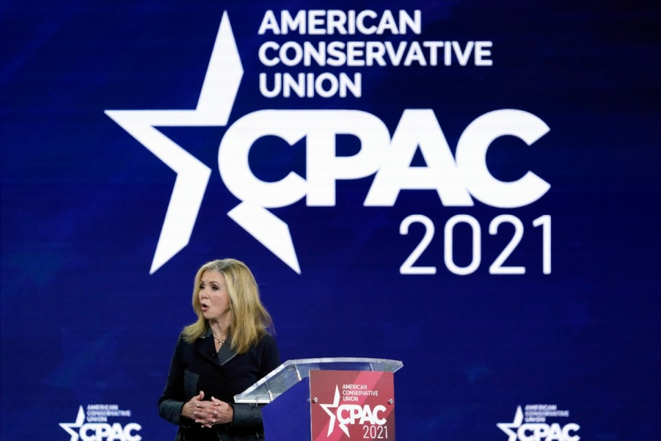 <strong>U.S. Sen. Marsha Blackburn of Tennessee speaks at the Conservative Political Action Conference (CPAC) on Feb. 26, in Orlando, Fla. Blackburn, a regular at the conservative gatherings,&nbsp; gave a 15-minute speech at last weekend&rsquo;s conference in Dallas.</strong> (John Raoux/Associated Press file)