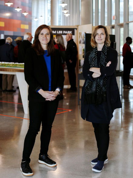 <strong>Gia Baigi (left), principal of urbanism and civic impact at Studio Gang, and Kate Orff (right), founder and principal at SCALE Studio, gave a brief explanation to media and other guests of the newly proposed design for Tom Lee Park.</strong>  (Houston Cofield/Daily Memphian)