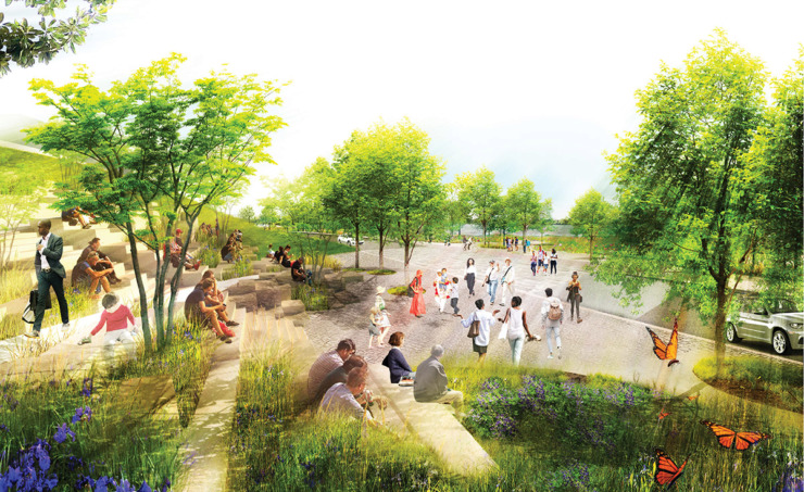 "<p class=""p1""><strong>A terraced, universally-accessible pathway flows down the bluff to connect downtown Memphis to the new Tom Lee Park from Beale Street.</strong> (Studio Gang)"
