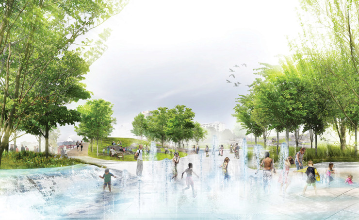 "<p class=""p1""><strong>A welcoming entry plaza greets visitors and orients them to a range of riverfront and park activities, from boat cruises to basketball. In the heart of the plaza, water features and bright swaths of native plants evoke the movement of the river. (</strong>Studio Gang)"