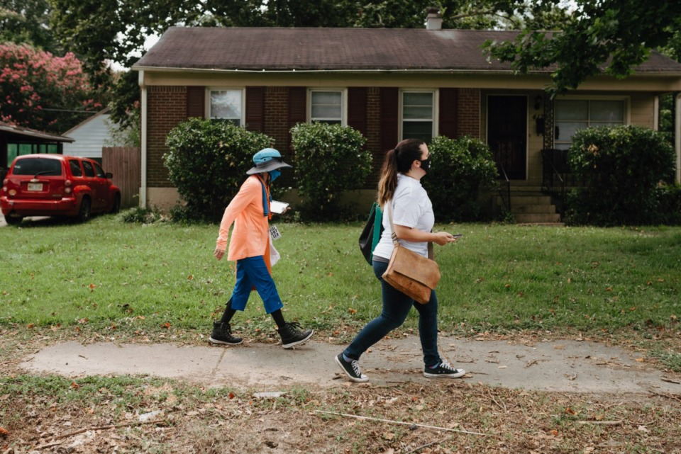 <strong>Volunteers used voter registration data to coordinate which homes to visit.&nbsp;</strong> (Lucy Garrett/Special to the Daily Memphian)