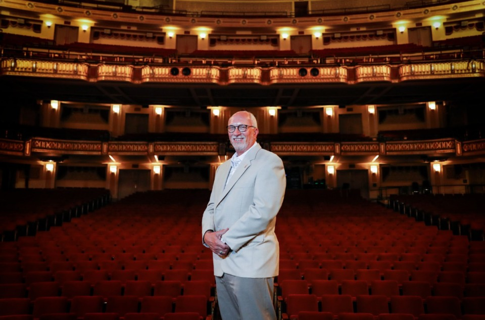 <strong>Orpheum President and CEO Brett Batterson backdropped by the theatre seating on Tuesday, Aug. 25, 2020.</strong> (Mark Weber/Daily Memphian file)
