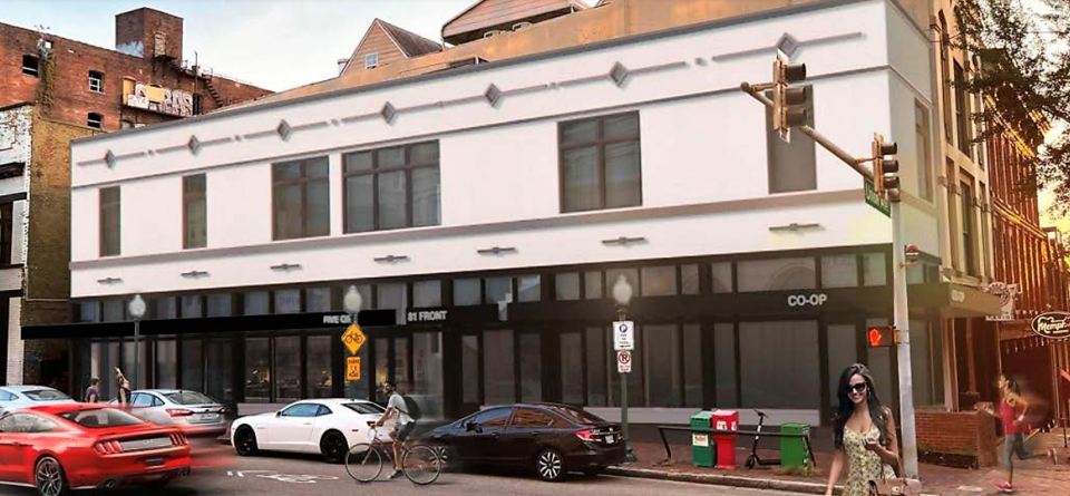 <strong>A rendering for the proposed renovation of the building at the southwest corner of Front and Union.</strong> (Credit: FIVE ONE Architects)