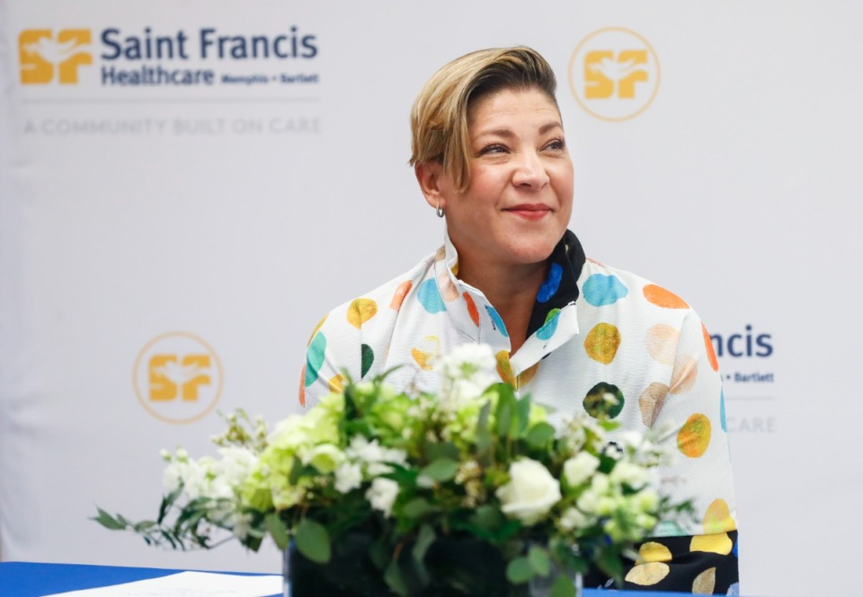 <strong>Saint Francis Memphis Market President and CEO Sally Deitch attends a press conference announcing the hospital&rsquo;s partnership with West Clinic Cancer on Tuesday, June 15, 2021.</strong> (Mark Weber/The Daily Memphian)