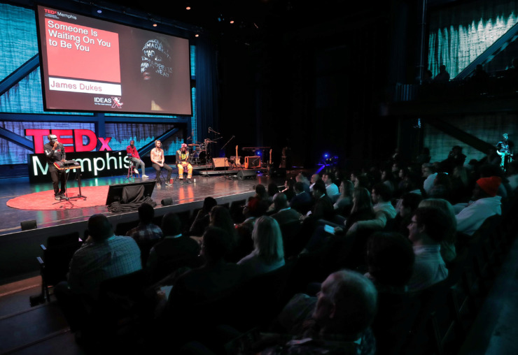 <strong>Memphis-based music producer James Dukes, one of a slate of 18 speakers at TEDxMemphis, reflects on childhood lessons of individuality during a TEDx talk at Crosstown Arts on Feb. 2, 2019. </strong> (Jim Weber/Daily Memphian)