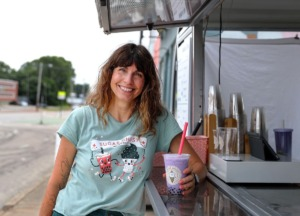 Mary Claire White poses for a portrait outside of Sugar Ghost's Broad Avenue food truck July 16, 2021. (Patrick Lantrip/Daily Memphian)