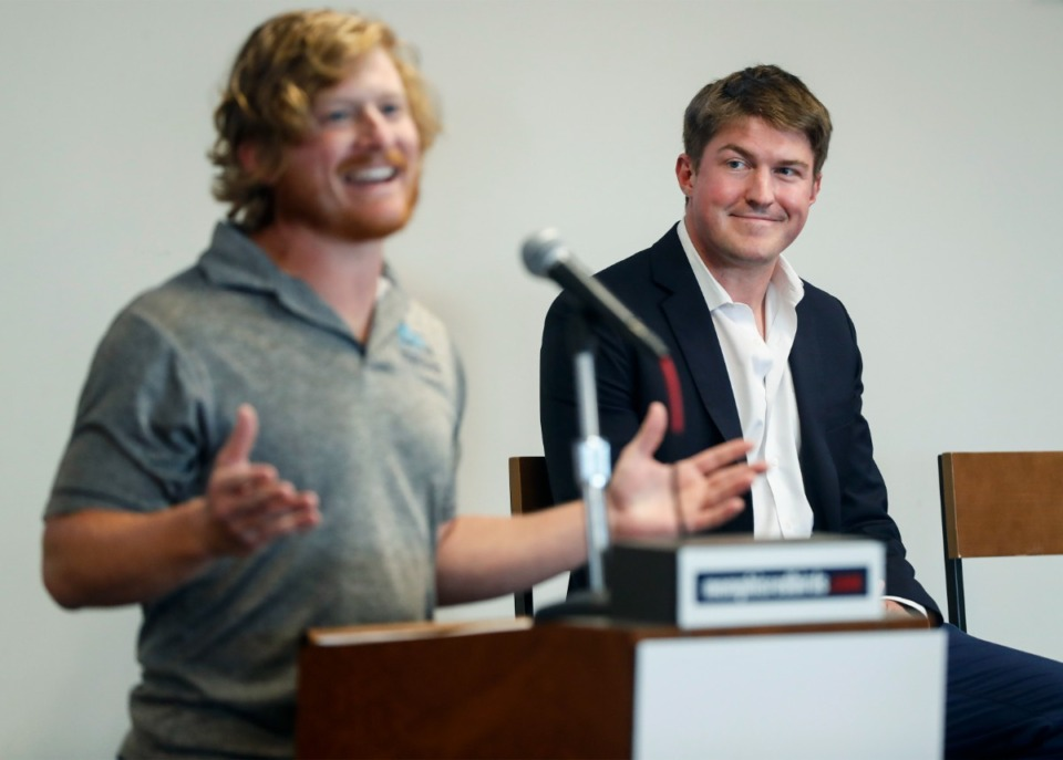 <strong>Premier Rugby Sevens founder and CEO Owen Scannell (right) listens to Memphis Inner City Rugby co-founder and Executive Director Shane Young during a press conference on Wednesday, July 21, 2021. Scannell announced the PR7&rsquo;s inaugural championship game will be played on Oct. 9, 2021, at AutoZone Park.</strong> (Mark Weber/The Daily Memphian)