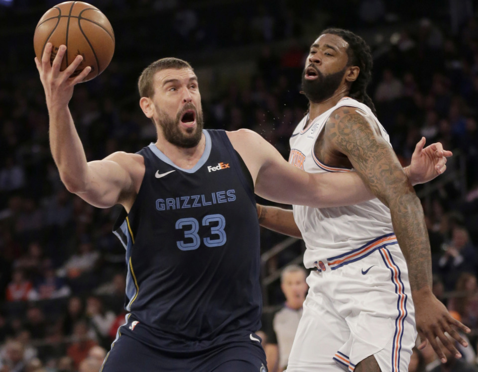 <strong>Memphis Grizzlies' Marc Gasol (left) drives past New York Knicks' DeAndre Jordan during the first half of an NBA Sunday, Feb. 3, 2019, in New York.</strong> (AP Photo/Seth Wenig)