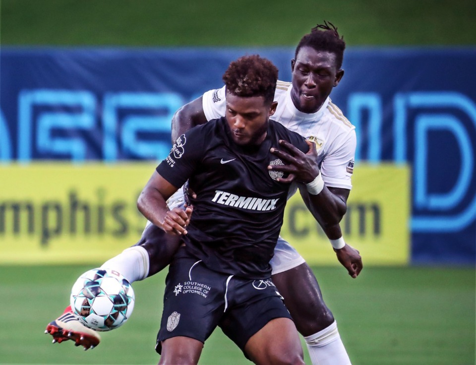 <strong>Memphis 901 FC forward Michael Salazar (11) fights for a ball during a July 24, 2021 match against FC Tulsa at AutoZone Park.</strong> (Patrick Lantrip/Daily Memphian)