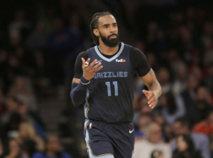 <span><strong>Memphis Grizzlies' Mike Conley gestures during the second half of the NBA basketball game against the New York Knicks, Sunday, Feb. 3, 2019, in New York. The Grizzlies defeated the Knicks 96-84.</strong>(AP Photo/Seth Wenig)</span>