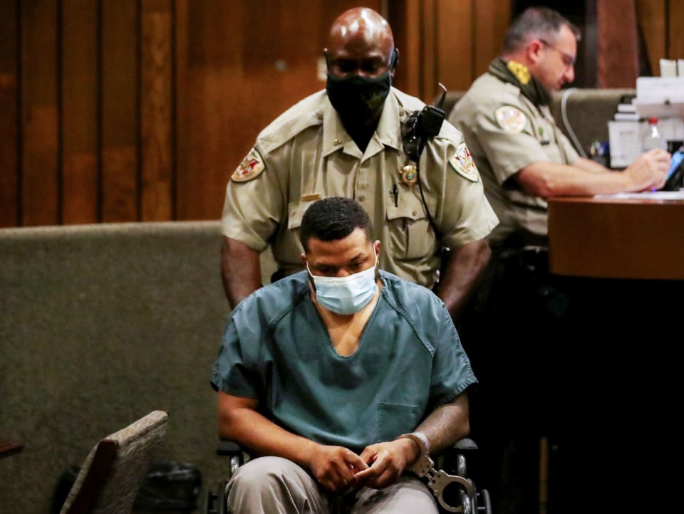 <strong>Antonio Marshall is wheeled out of General Sessions Judge Bill Anderson's courtroom on June 30, 2021 in Division 7 after being charged with vehicular homicide.&nbsp;</strong>&nbsp;(Patrick Lantrip/Daily Memphian)