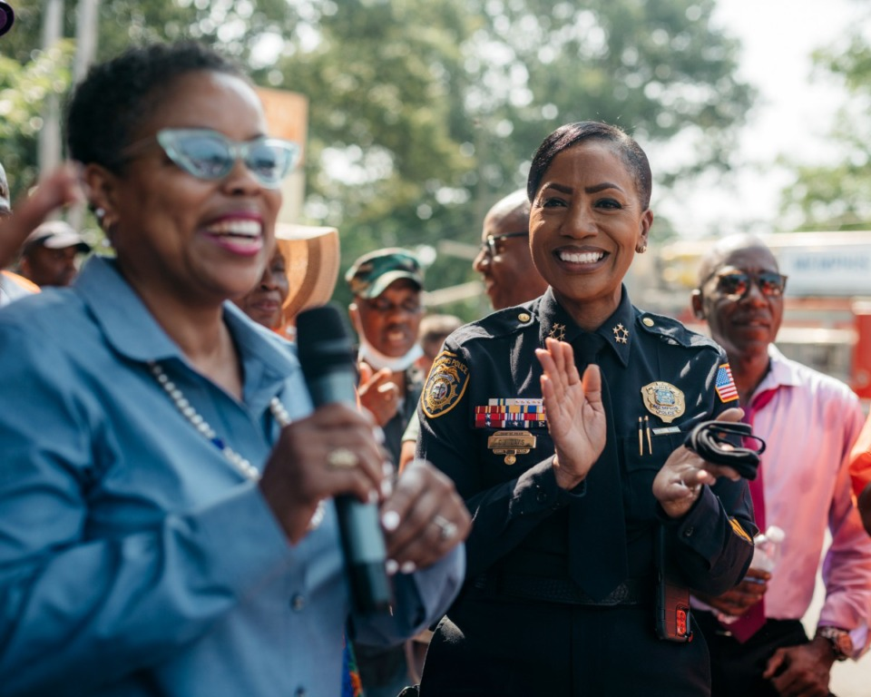 <strong>Jamita Swearengen (left), Memphis City Council member for District 4, introduces MPD Chief C.J. Davis at a community walk in Orange Mound.</strong> (Houston Cofield/Special To The Daily Memphian)