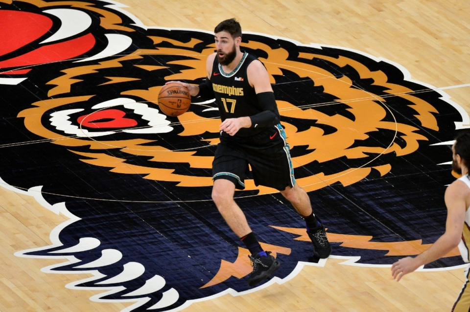 <strong>Memphis Grizzlies center Jonas Valanciunas (17) was playing against the Pelicans Tuesday, Feb. 16, 2021, at FedExForum. Now he has reportedly been traded to the New Orleans NBA team.</strong> (Brandon Dill/AP file)