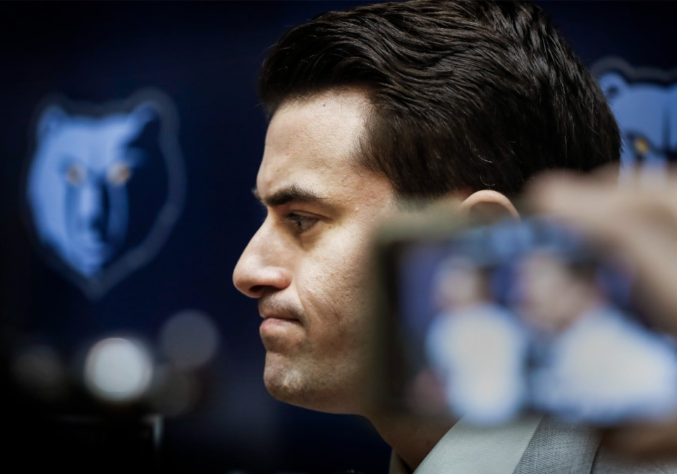 <strong>Grizzlies&rsquo; Vice President of Basketball Operations Zach Kleiman speaks during a press conference Monday, Feb. 10, 2020 at the FedExForum.</strong> (Mark Weber/Daily Memphian)