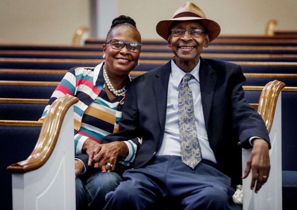<strong>Pastor Diane Young and husband Bishop William Young sit in the Healing Center Baptist Church sanctuary on Tuesday, July 27, 2021. The couple founded the church nearly 30-years-ago and after a parishioner died by suicide there in 2002, decided to help their churchgoers beyond their spiritual needs. That led to the founding of the Wellness and Stress Clinic of Memphis.</strong> (Mark Weber/The Daily Memphian)