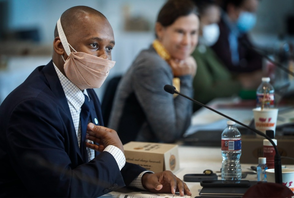 <strong>Shelby County Commissioner Van Turner (left, in 2020) raised concerns that County Mayor Lee Harris&rsquo; proposed advisory panel on ethics could complicate the Edmund Ford Jr. probe.</strong> (Mark Weber/Daily Memphian file)