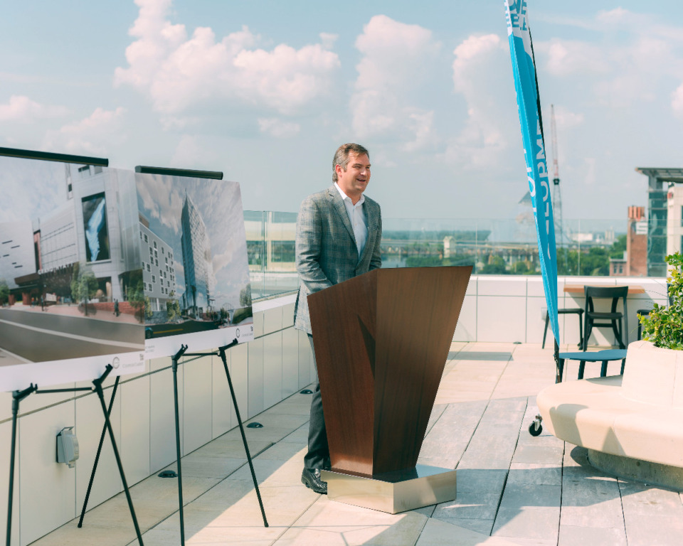<strong>Chance Carlisle, the lead developer behind One Beale, speaks to media about construction development of the Grand Hyatt along with other developments soon to come in the area.</strong> (Houston Cofield/Special To The Daily Memphian)