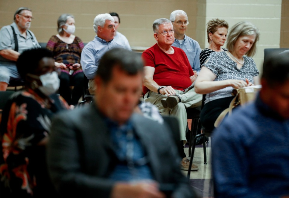 <strong>Cordova community members attend a Public Safety Town Hall meeting on Tuesday, July 27, 2021, at Bert Ferguson Community Center.</strong> (Mark Weber/The Daily Memphian)