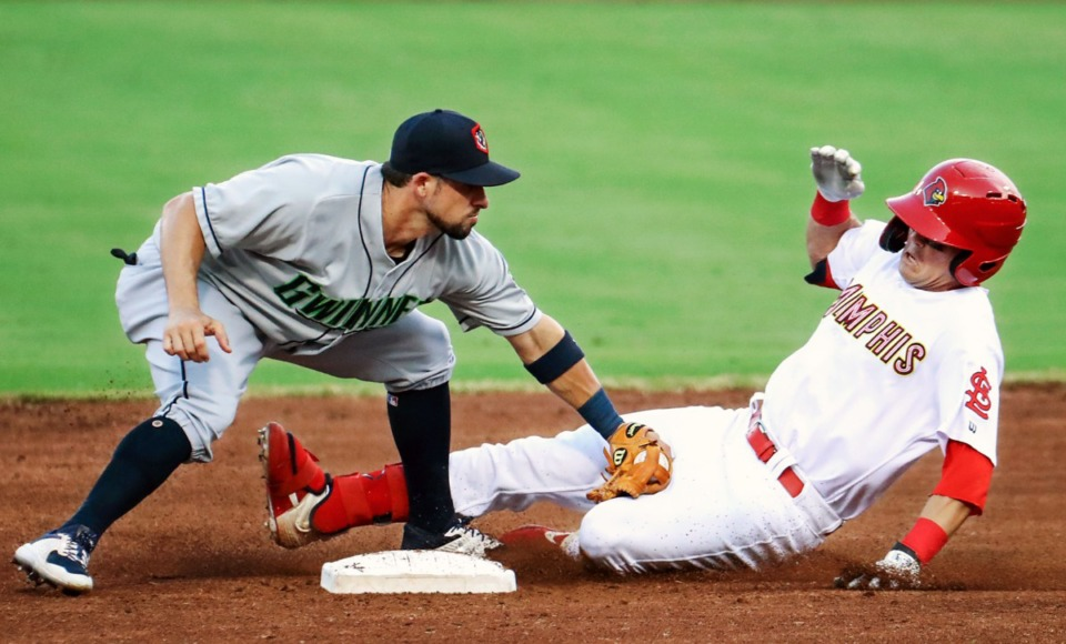 <strong>Redbirds right fielder Lars Nootbaar (11) tries to steal second base during the July 27, 2021, home game against the Gwinnett Stripers in AutoZone Park.</strong> (Patrick Lantrip/Daily Memphian)