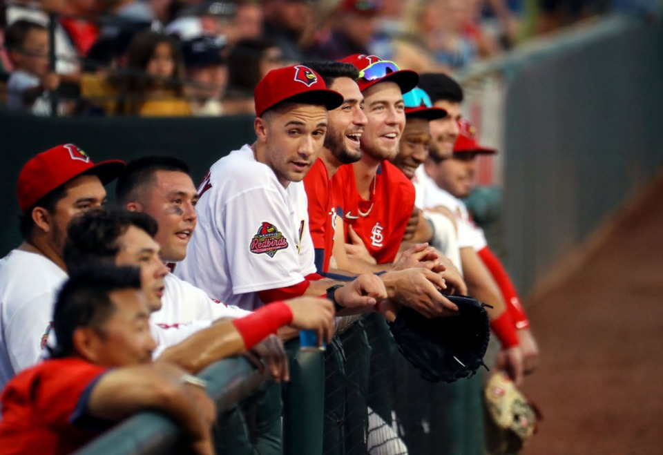 <strong>Redbirds players laugh in the dugout during the July 27, 2021, home game against the Gwinnett Stripers in AutoZone Park.</strong> (Patrick Lantrip/Daily Memphian)