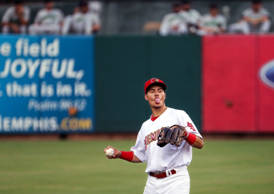 <strong>Redbirds shortstop Evan Mendoza blows a bubble after catching a pop fly during the July 27, 2021, home game against the Gwinnett Stripers in AutoZone Park.</strong> (Patrick Lantrip/Daily Memphian)