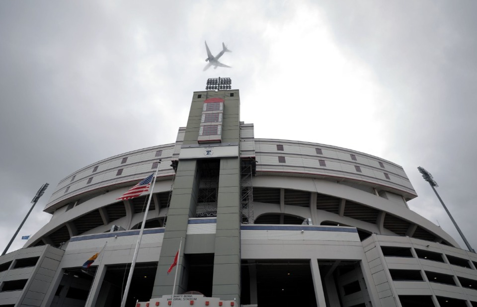 <strong>A FedEx airplane flies over the Liberty Bowl Memorial Stadium Sept. 3, 2020.</strong> (Patrick Lantrip/Daily Memphian file)