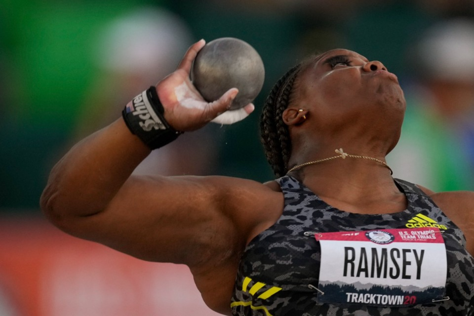 <strong>Jessica Ramsey competes during the finals for the women's shot put at the U.S. Olympic Track and Field Trials Thursday, June 24, 2021, in Eugene, Ore.</strong> (AP Photo/Charlie Riedel)