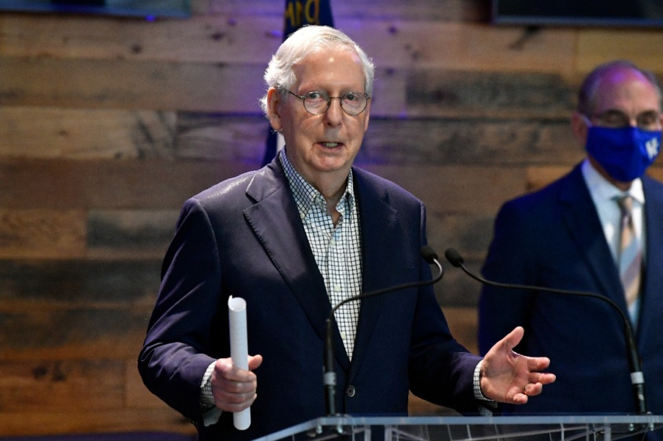 <strong>Senate Minority Leader Mitch McConnell, R-Ky., speaks a COVID-19 vaccination site in Lexington, Kentucky on April 5, 2021. McConnell has been one of the few national Republican leaders to consistently urge vaccination.</strong> (Timothy D. Easley/AP file)