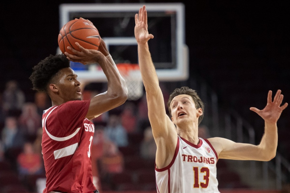 <strong>Stanford forward Ziaire Williams (left), seen here in March, had a short and unimpressive college career. But the Grizzlies front office saw something others didn&rsquo;t.</strong>&nbsp;(Kyusung Gong/AP file)