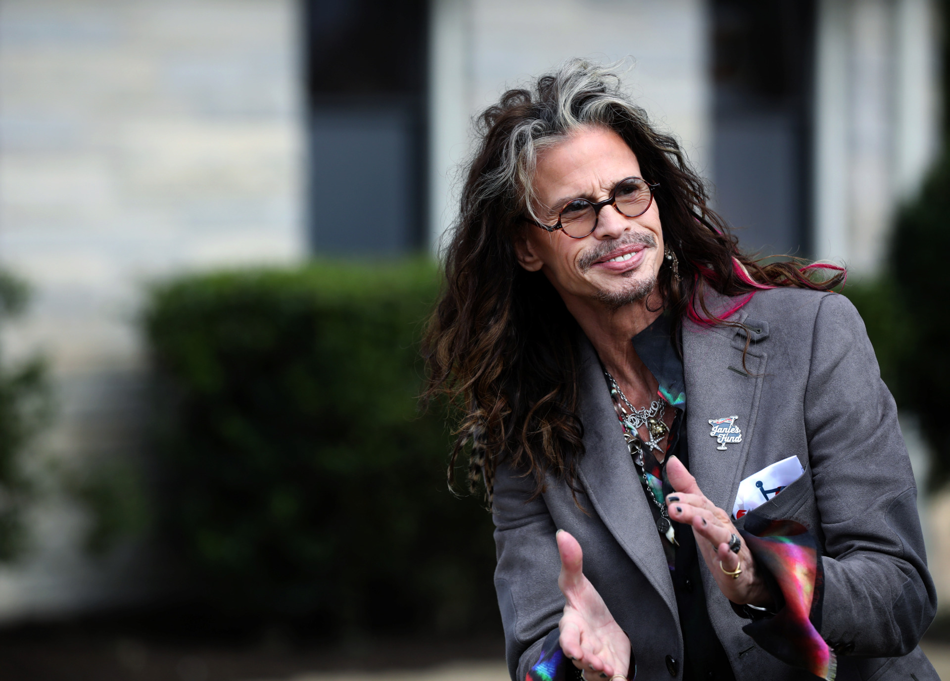 <strong>Aerosmith frontman Steven Tyler greets visitors and media Monday, Feb. 4, 2019, at the grand opening of Janie's House, a residence for abused and neglected girls on Youth Villages' Bartlett campus. Tyler has contributed close to half a million dollars to Youth Villages through his philanthropy, Janie's Fund.&nbsp;</strong>(Houston Cofield/Daily Memphian)