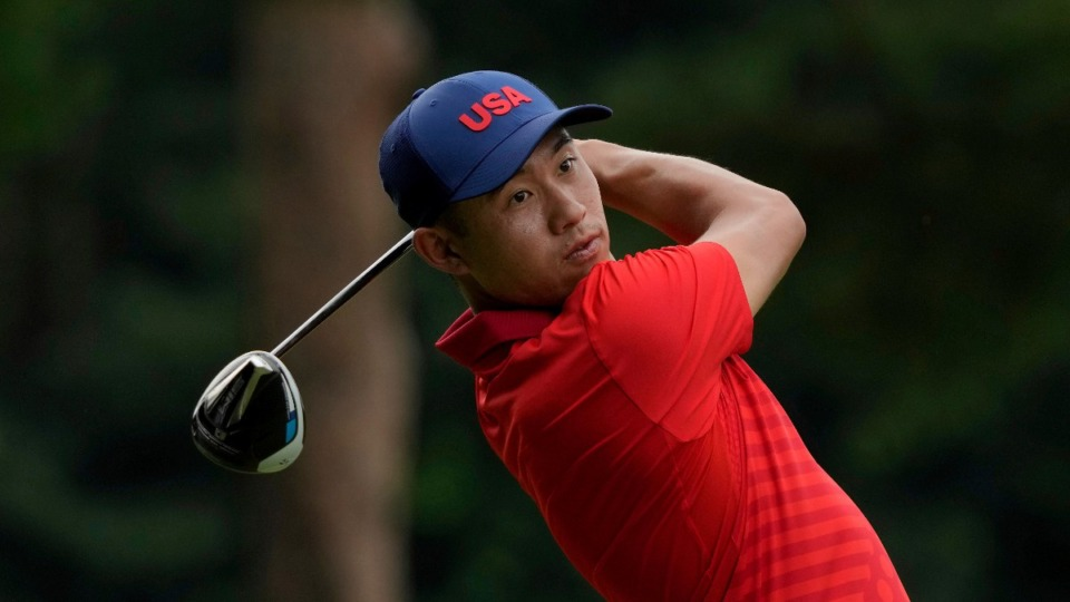 <strong>Collin Morikawa of the United States watches his tee shot on the 6th hole during the second round of the men's golf event at the Summer Olympics on Friday, July 30, 2021, at the Kasumigaseki Country Club in Kawagoe, Japan.</strong> (Andy Wong/AP)