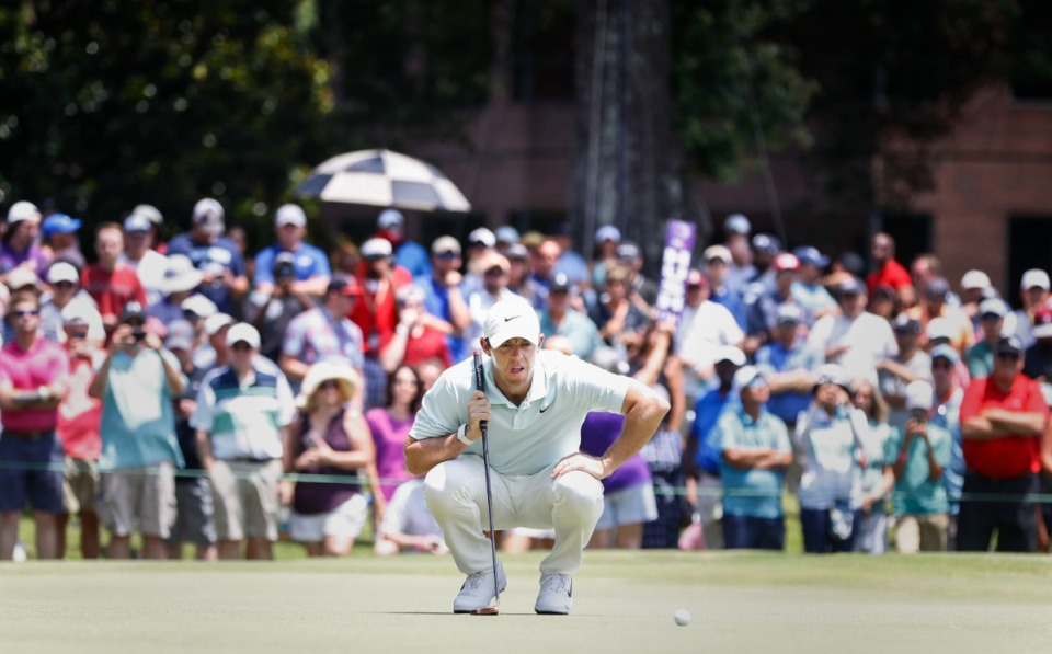 <strong>PGA golfer Rory McIlroy lines up his putt on hole 2 during final round action at the WGC-FedEx St. Jude Invitational at TPC Southwind, Sunday, July 28, 2019.</strong> (Mark Weber/Daily Memphian).