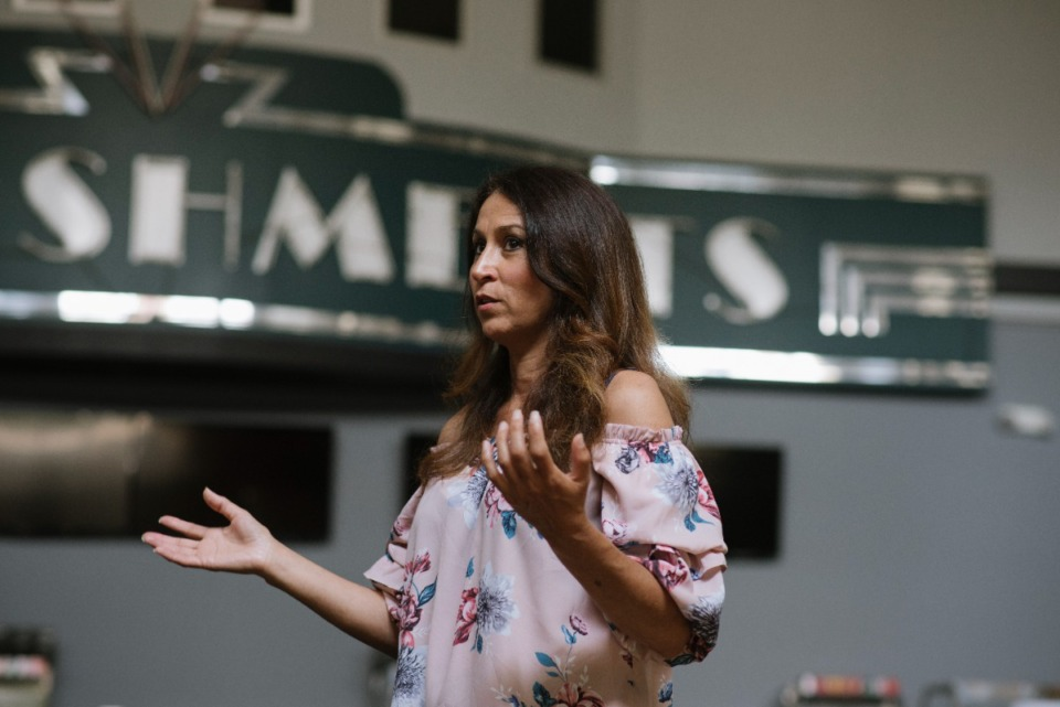 <strong>Marie Pizano, co-founder and CEO of MVP3 Entertainment Group shares details astir  assemblage  programs and engagement efforts&nbsp; Saturday, July 31, 2021 astatine  MVP3 Studios, formerly Malco Majestic.</strong> (Lucy Garrett/Special to the Daily Memphian)