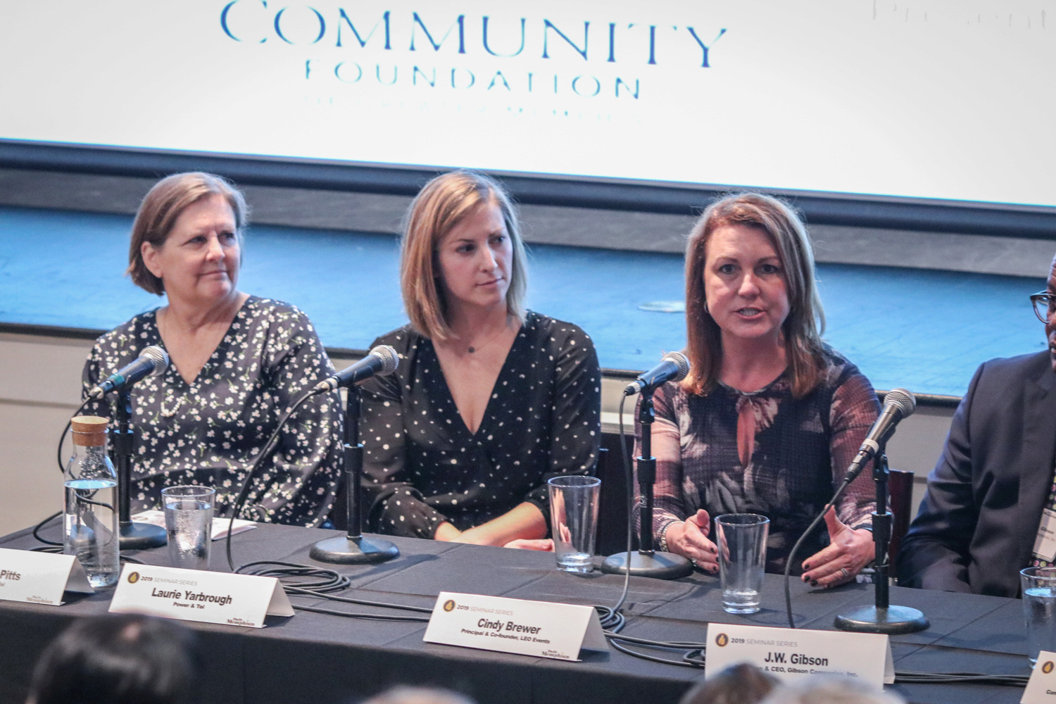 <strong>Martha Pitts (from left), Laurie Yarbrough and Cindy Brewer share how their small businesses have embraced charitable giving at the Small Business Philanthropy Seminar on Thursday, Jan. 31, 2019.</strong> (Jason R. Terrell/Daily Memphian)