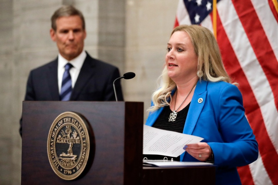 <strong>Tennessee Health Commissioner Dr. Lisa Piercey said the statewide trial  positivity complaint   is implicit    13%, and much  radical   are hospitalized with COVID present  than astatine  immoderate  constituent   since February.</strong> (AP Photo/Mark Humphrey)