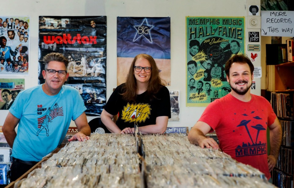 <strong>Jared McStay (from left) and Lori McStay have partnered with Graham Winchester to open Blast Habit Records. After conceiving of the idea for a label, Winchester says his first call was to the McStays, who quickly jumped on board.&nbsp;</strong>(Mark Weber/Daily Memphian)