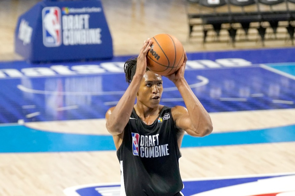 <strong>Yves Pons participates successful  the NBA Draft Combine astatine  the Wintrust Arena Thursday, June 24, 2021, successful  Chicago.</strong> (Charles Rex Arbogast/AP file)